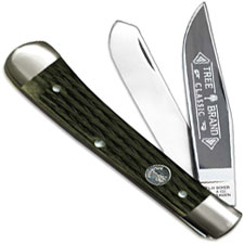 Boker Trapper Knife, Limited Jigged Green Bone, BK-2525JGB