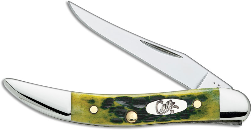 Case Small Texas Toothpick Knife Green Apple Bone Ca 10282