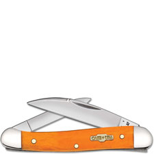 Case Mini Copperhead Knife, Smooth Persimmon Orange Bone, CA-10315