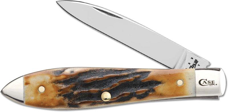 Case Tear Drop Gent Knife Burnt Prime Stag Ca 12395