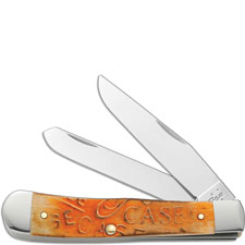 Case Trapper Knife, Carved Persimmon Orange Bone, CA-22082