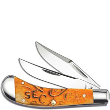 Case Saddlehorn Knife, Carved Persimmon Orange Bone, CA-22086