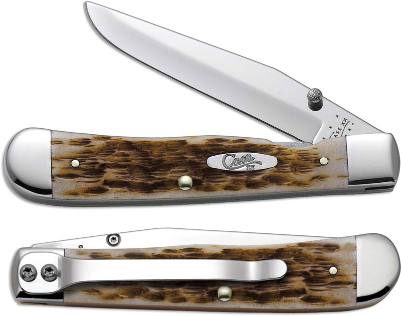 Case Trapperlock With Clip Amber Bone Cv Ca 30024