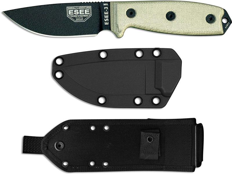 Esee Knives Esee 3mil P B Black Drop Point Micarta