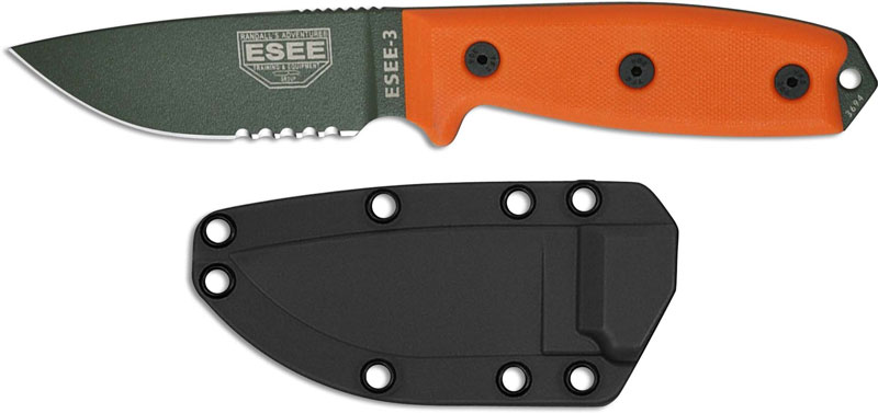 Esee Knives Esee 3s Od Part Serrated Olive Drab Drop Point