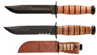 Short KABAR USMC, Plain Edge with Leather Sheath, KA-1250