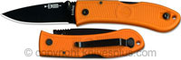 KA-BAR Knives KABAR Mini Dozier Folder, Orange Handle, KA-4072BO
