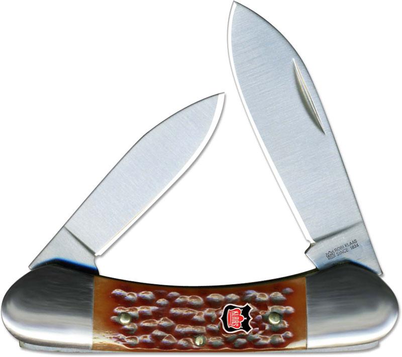 Kissing Crane Canoe Knife Tobacco Bone Kc 6217br