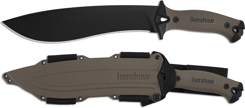 Kershaw 1077tan Camp 10 Black Carbon Steel Camp Knife With