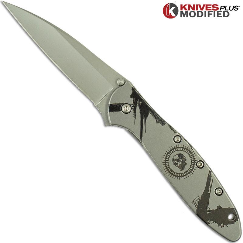 ENGRAVED Kershaw Leek 1660 A/O Flipper Knife - Skull w/Brushstrokes