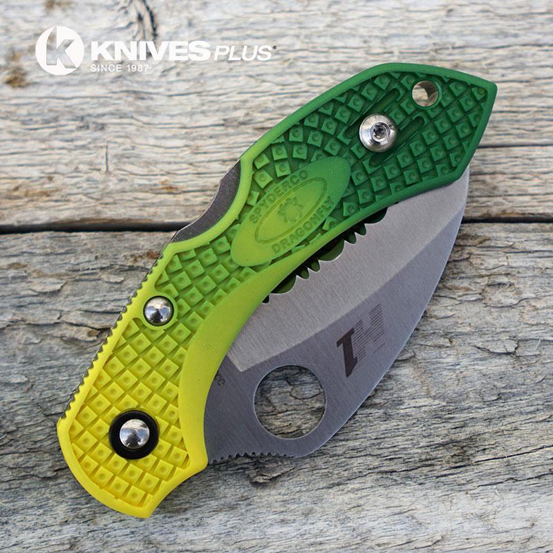 Modified Spyderco Dragonfly Salt Hawkbill Green Fade Rit