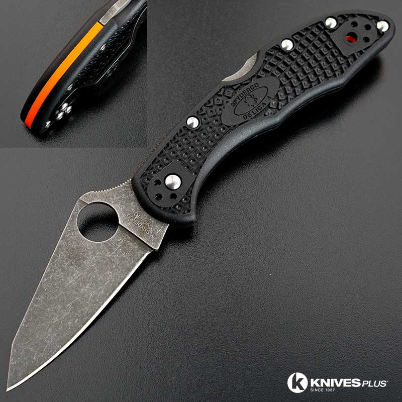 MODIFIED Spyderco Delica 4 - Acid Wash - Regrind - Black Handle/Orange Backspacer