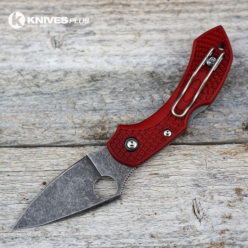 Modified Spyderco Dragonfly 2 The Red Dragon Acid Wash