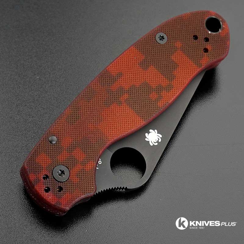 Modified Spyderco Para 3 Knife Red Digital Camo Dlc