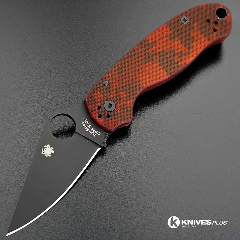 Modified Spyderco Para 3 Knife Red Digital Camo Dlc