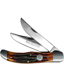 Queen Knives Queen Folding Hunter Knife, Honey Amber, QN-39ACSB