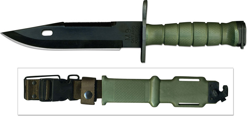 Ontario M9 Bayonet 6220 Green Handle And Sheath Usa Made