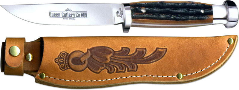 Queen Knives Queen Canoe Knife Aged Honey Stag Bone Qn