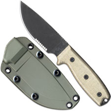 Ontario Knives Ontario RAT-3 Knife, Serrated with Green Sheath, QN-RAT3SOD