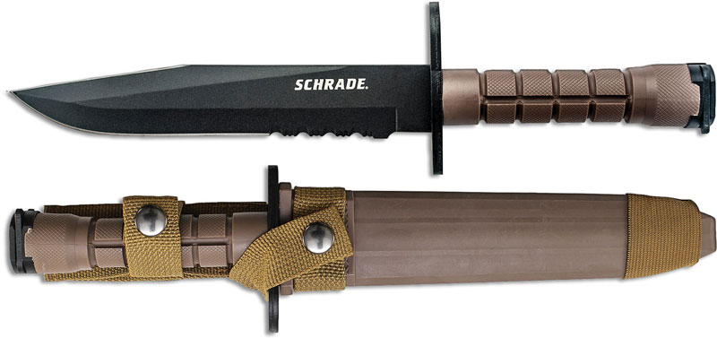 Schrade M9 Bayonet Knife Brown Handle Sc F6