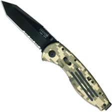 SOG Knives SOG Aegis Knife, Camo Part Serrated Black Tanto, SG-AE07