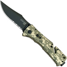 SOG Knives SOG Trident Folder, Digital Camo with Serrated Clip Point, SG-TF10