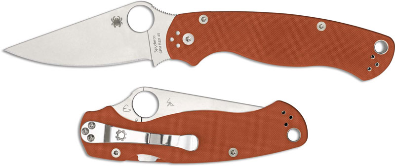 Spyderco Para Military 2 C81GPBORE CPM REX 45 Sprint Run Burnt Orange G10  USA Made