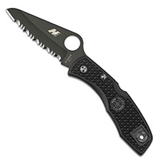 Spyderco Salt I, Serrated Black Blade and Black Handle, SP-C88SBBK