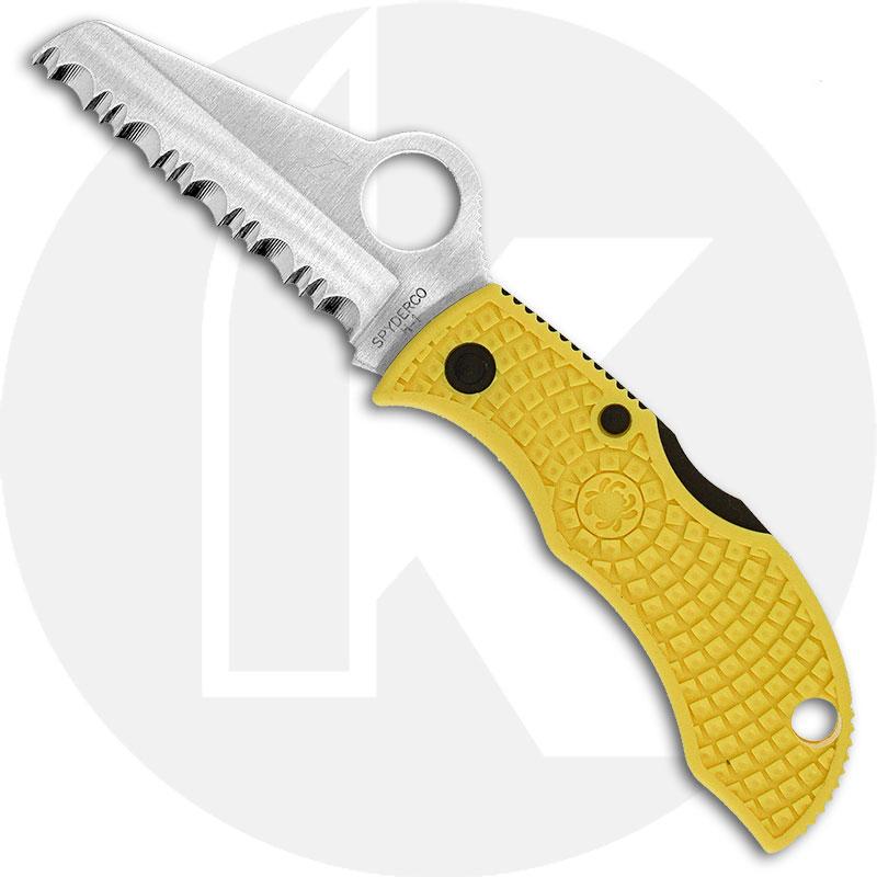 Spyderco MYLS Manbug Salt Lightweight Knife, 1.9 Inch Serrated Rustproof H-1 Steel Sheepfoot Blade, Yellow FRN Handle
