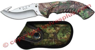Buck Folding Omni Hunter 12pt Gut Hook Xtra Green Camo