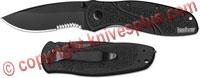 Kershaw Blur Knife with Glassbreaker, Black, KE-1670GBBLKST