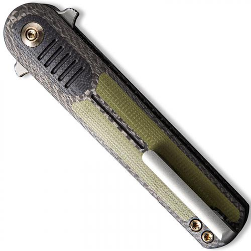 WE Knife Company 2002A Angst - Justin Lundquist EDC - Stonewash Dagger - Twill Carbon Fiber with Black and OD G10 - Liner Lock F