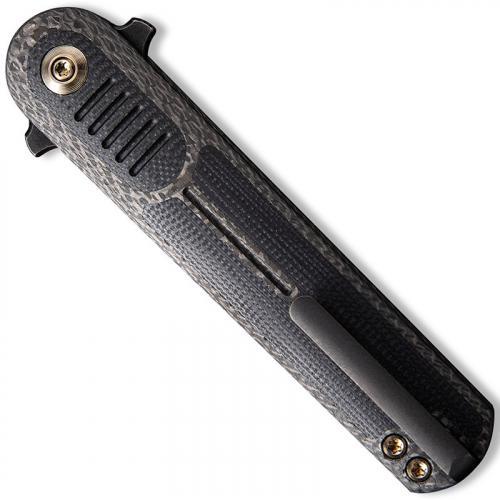 WE Knife Company 2002C Angst - Justin Lundquist EDC - Black Stonewash Dagger - Twill Carbon Fiber with Black G10 - Liner Lock Fl