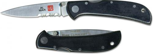Al Mar Hawk Ultralight Knife 1002UBK4 - Part Serrated - DISCONTINUED ITEM - OLD NEW STOCK - SERIAL NUMBERED - MADE IN JAPAN