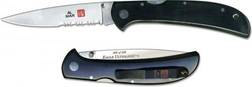 Al Mar Eagle Ultralight Knife 1005UBK4 - Part Serrated - DISCONTINUED ITEM - OLD NEW STOCK - SERIAL NUMBERED - MADE IN JAPAN