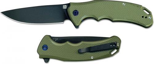 Artisan Tradition Knife 1702P-BGN Black D2 Drop Point Green G10 Liner Lock Flipper Folder