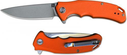 Artisan Tradition Knife 1702PS-OEF Small Stonewash D2 Drop Point Orange G10 Liner Lock Flipper Folder