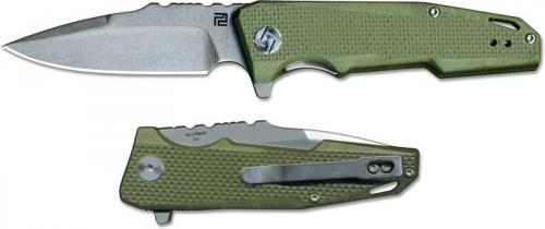 Artisan Predator Knife 1706PS-GNF Small Stonewash D2 Drop Point Green G10 Liner Lock Flipper Folder