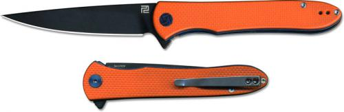 Artisan Shark Knife 1707P-BOE Black D2 Drop Point Orange G10 Liner Lock Flipper Folder
