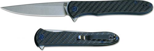 Artisan Shark Knife 1707P-CF Stonewash S35VN Drop Point Carbon Fiber Liner Lock Flipper Folder