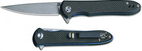Artisan Shark Knife 1707PS-BKF Small Stonewash D2 Drop Point Black G10 Liner Lock Flipper Folder