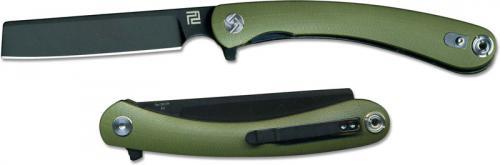 Artisan Orthodox Knife 1817P-BGNC Black D2 Razor Style Blade Green G10 Liner Lock Flipper Folder