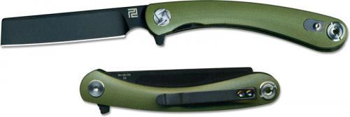 Artisan Orthodox Knife 1817PS-BGNC Small Black D2 Razor Style Blade Green G10 Liner Lock Flipper Folder