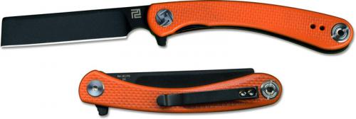 Artisan Orthodox Knife 1817PS-BOEF Small Black D2 Razor Style Blade Orange G10 Liner Lock Flipper Folder