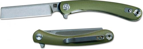 Artisan Orthodox Knife 1817PS-GNC Small Stonewash D2 Razor Style Blade Green G10 Liner Lock Flipper Folder