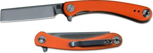 Artisan Orthodox Knife 1817PS-OEF Small Stonewash D2 Razor Style Blade Orange G10 Liner Lock Flipper Folder