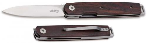 Boker LRF Cocobolo Knife 01BO080 - Kansei Matsuno EDC - Satin Drop Point - Cocobolo - Liner Lock Flipper Knife
