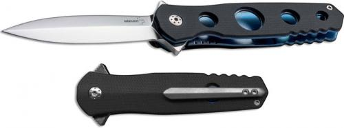 Boker Plus 01BO260 Picador EDC Spear Point Flipper Folder Black G10 and Blue Ti Handle