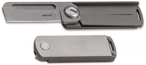 Boker Plus Rocket Titan 01BO264 - Darriel Caston EDC Pocket Knife - Bead Blast Sheepfoot - Gray Titanium Scale - Liner Lock