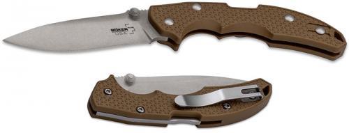 Boker Plus USA 01BO373 Knife Coyote Brown FRN Lockback Folder Made In The USA